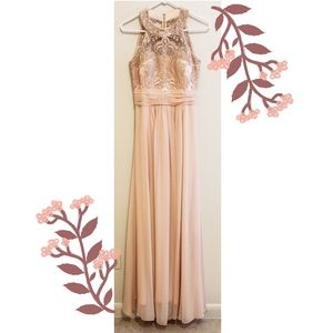 Sequin Lace Illusion Halter dress